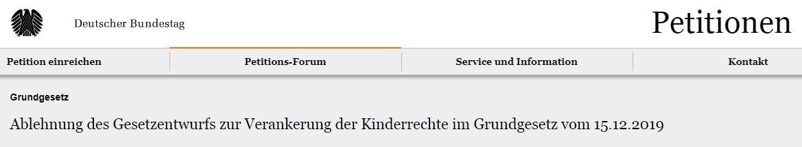 Petition - Bildquelle: Screenshot-Ausschnitt epetitionen.bundestag.de