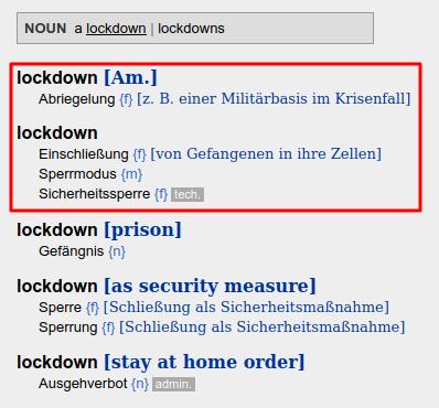 Lockdown übersetzung