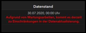 Datenstand 30-7-20 - Bildquelle: Screenshot-Ausschnitt RKI-Dashboard 31. Juli 2020