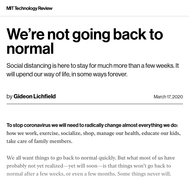 MIT - New Normal - Bildquelle: Screenshot-Ausschnitt MIT Technology Review