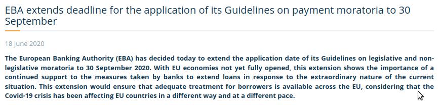EBA Moratoriumsverlängerung - Bildquelle: Screenshot-Ausschnitt EBA Website